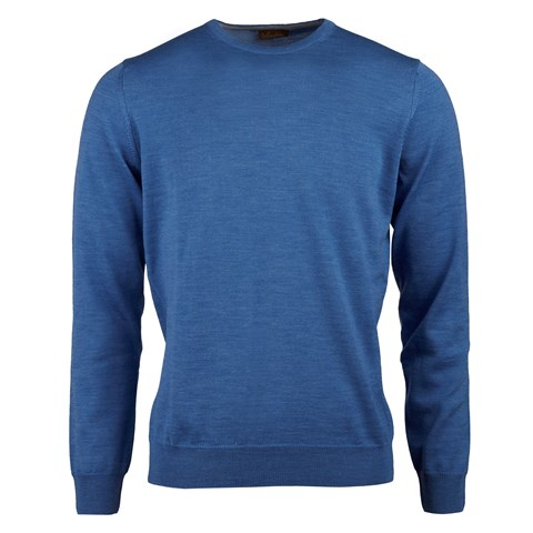 Blue Merino Crew Neck With Patches