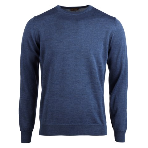 Merino Crew W Patch Blue