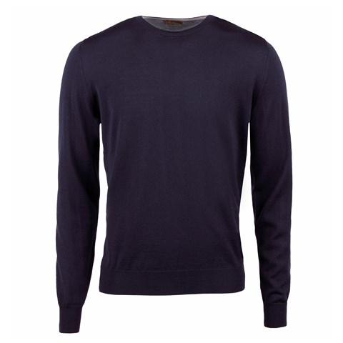 Navy Merino Crew Neck With Patches