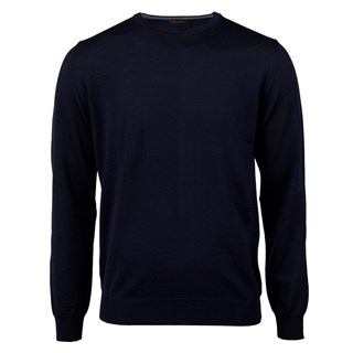 Navy Merino Crew W Patch