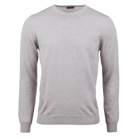 Beige Merino Crew Neck w. Patch