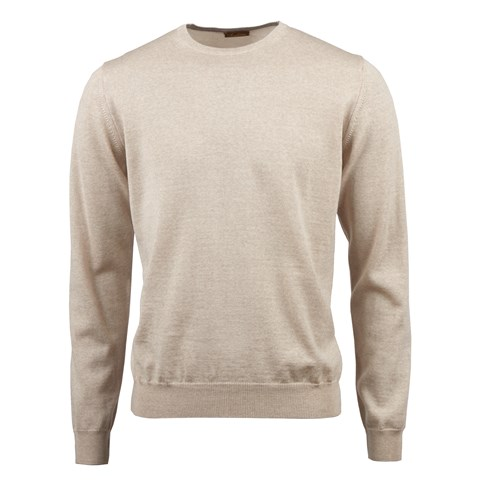 Beige Merino Crew w. Patch