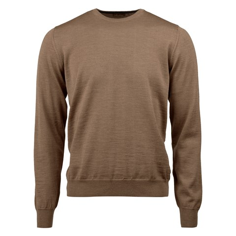 Camel Merino Crew Neck With Patches