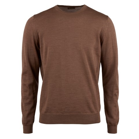 Brown Merino Crew W Patch