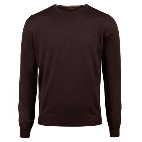 Brown Merino Crew Neck With Patches
