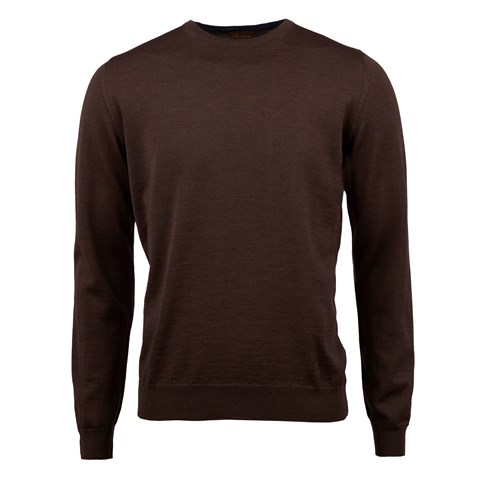 Brown Merino Crew w. Patch