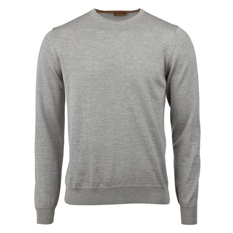 Grey Merino Crew Neck With Patches