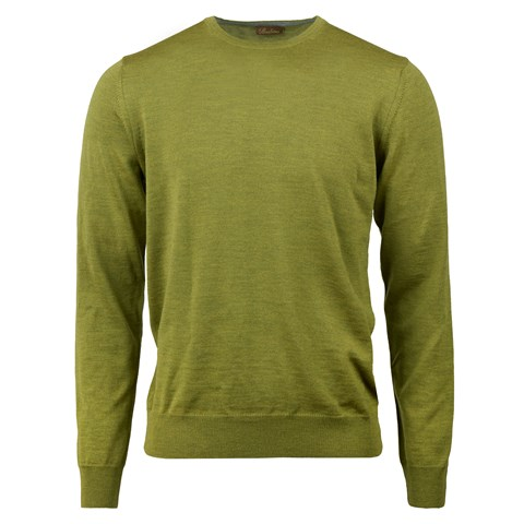 Green Merino Crew Neck With Patches