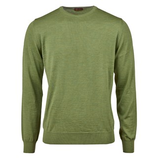 Green Merino Crew w. Patch
