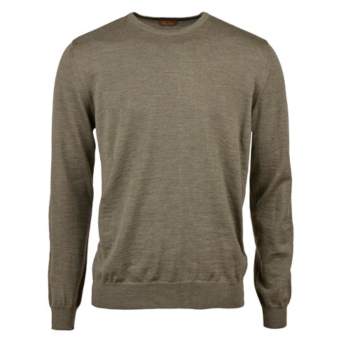 Olive Merino Crew Neck With Patches