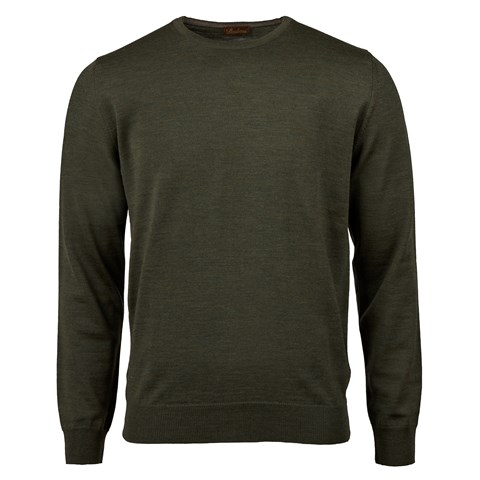 Forest Green Merino Crew Neck With Patches