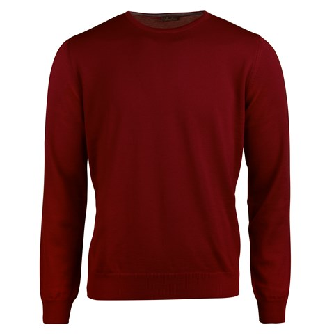 Red Merino Crew Neck With Patches