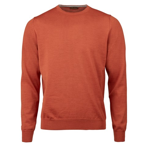 Orange Merino Crew Neck With Patches