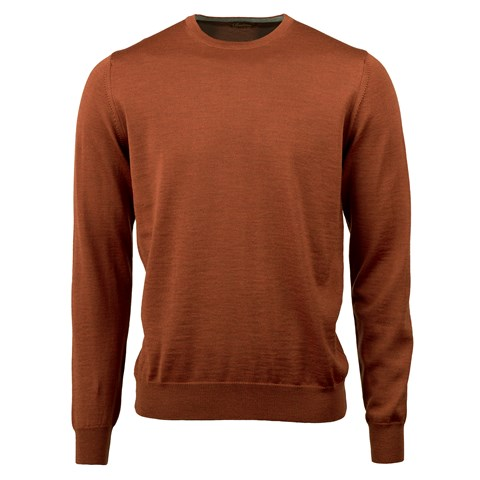 Brick Merino Crew Neck With Patches