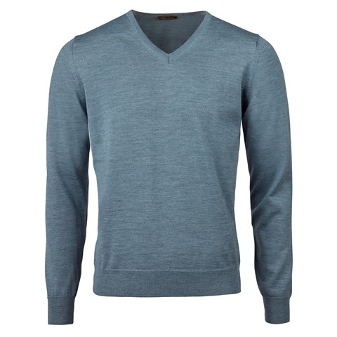 Light Blue Merino V-Neck With Patches