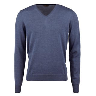 Denim Blue Merino V-Neck w. Patch