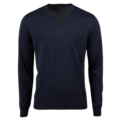 Blue Merino V-Neck w. Patch