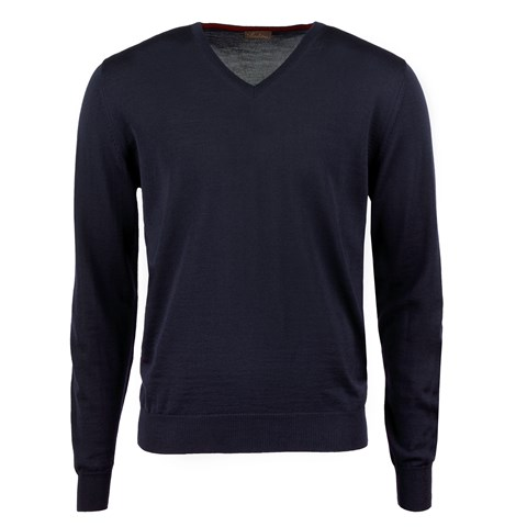 Navy Merino V-Neck w. Patch