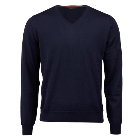 Navy Merino V-Neck With Patches