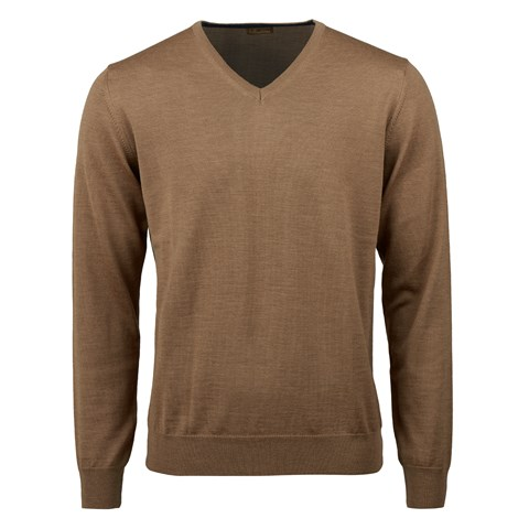 Camel Merino V-Neck With Patches