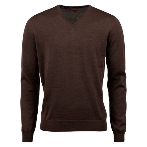 Brown Merino V-Neck With Patches