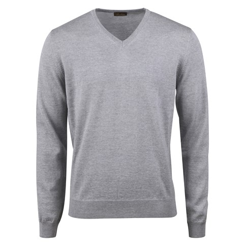 Grey Merino V-Neck Patch