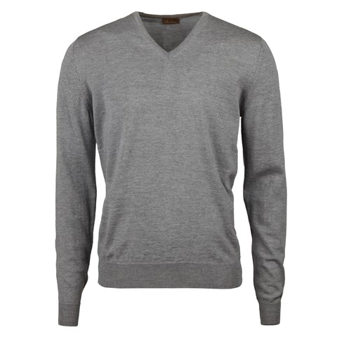 Grey Merino V-Neck With Patches