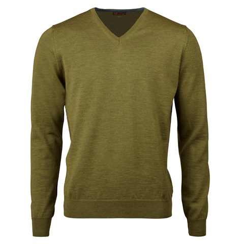 Forest Green Merino V-Neck With Patches