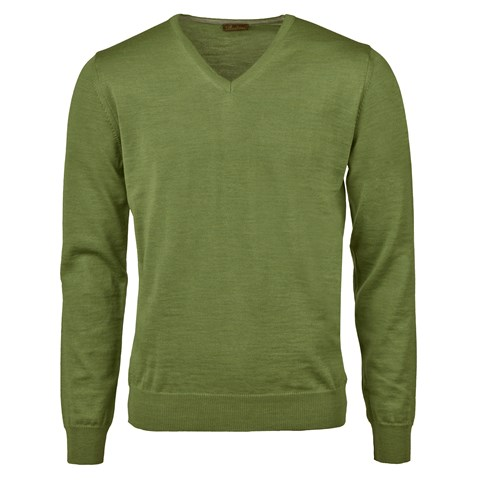 Green Merino V-Neck w. Patch