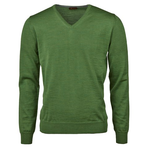 Green Merino V-Neck With Patches