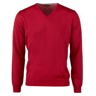 Red Merino V-Neck With Patches