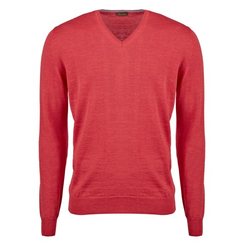 Coral Merino V-Neck With Patches