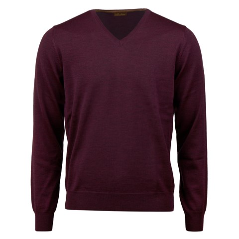 Plum Merino V-Neck With Patches