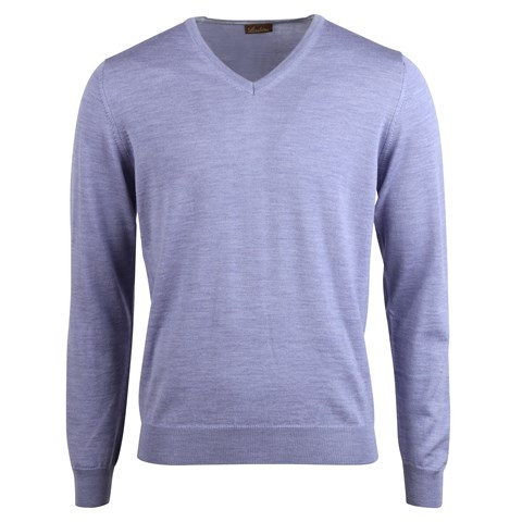 Merino V-Neck w. Patch Lilac