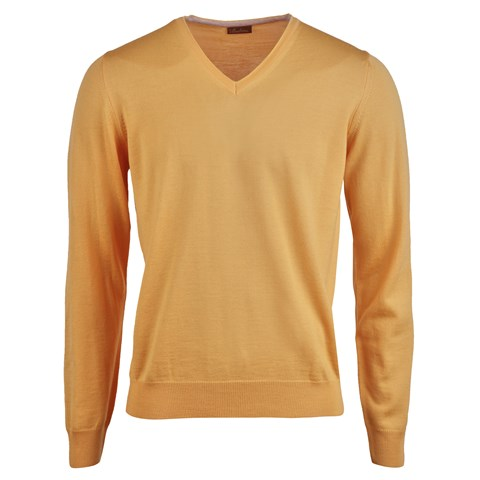 Merino V-Neck w. Patch Orange