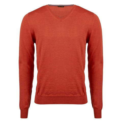 Orange Merino V-Neck With Patches