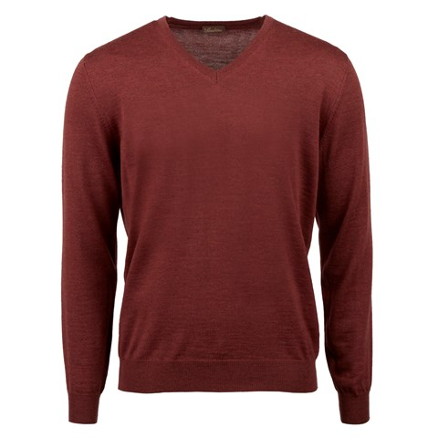 Rust Merino V-Neck w. Patch