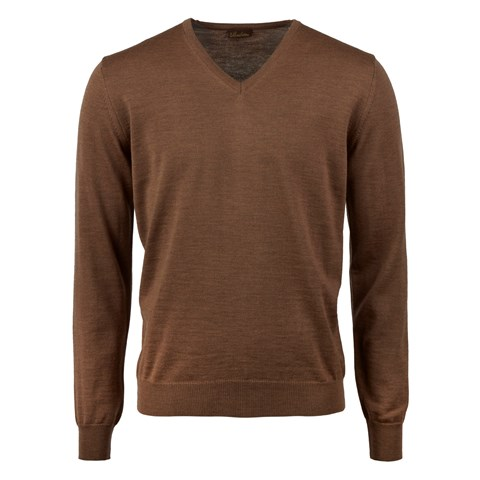 Brown Merino V-Neck