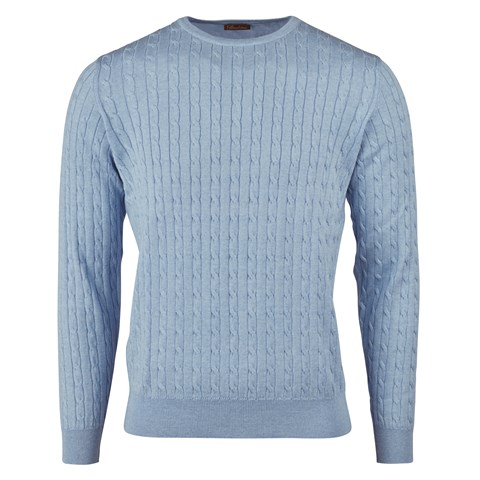 Light Blue Merino Cable Crew Neck