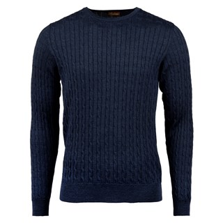 Blue Cable Crew Neck