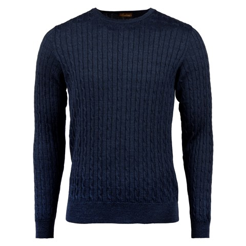 Blue Mélange Cable Crew Neck