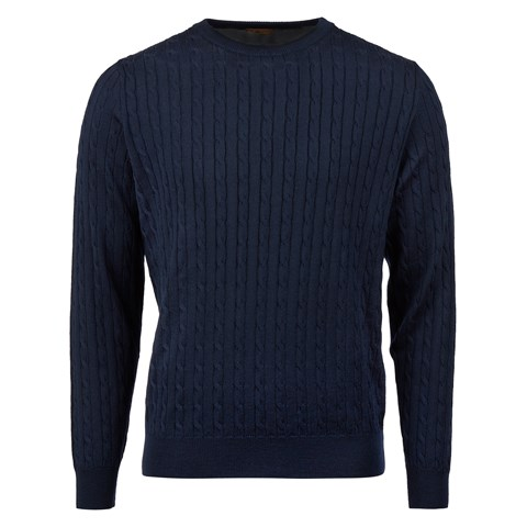 Navy Merino Cable Crew Neck