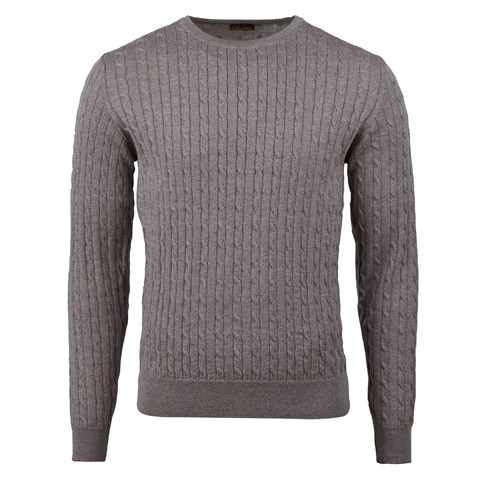 Light Mud Brown Merino Cable Crew Neck