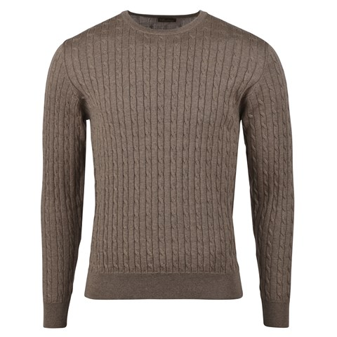 Brown Mélange Merino Cable Crew Neck