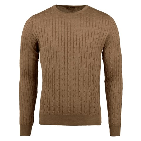 Camel Cable Crew Neck