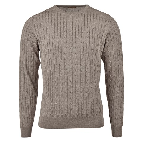 Mud Brown Cable Crew Neck