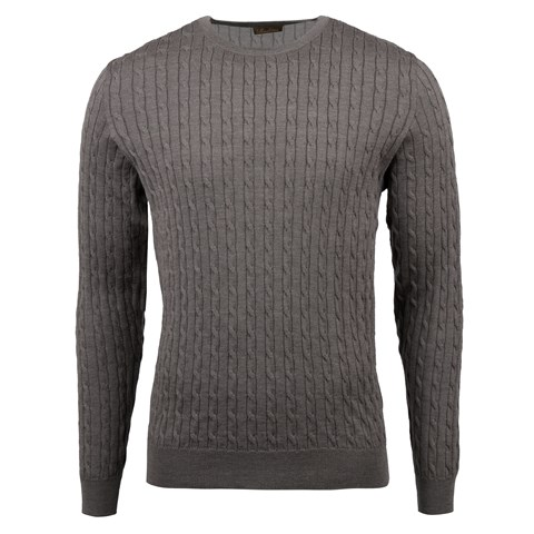 Mud Brown Merino Cable Crew Neck