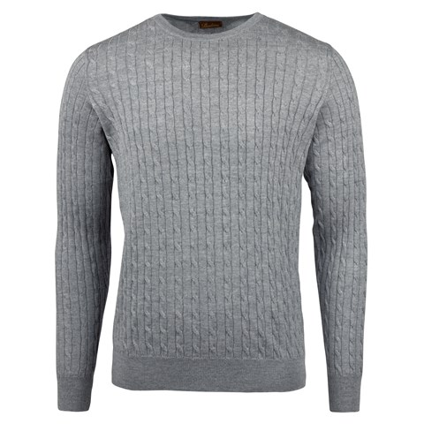 Grey Cable Crew Neck