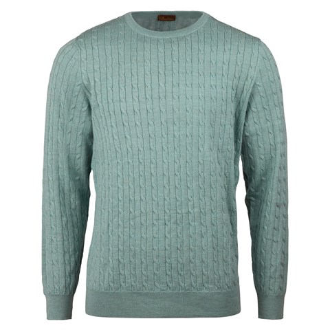Pale Green Cable Crew Neck