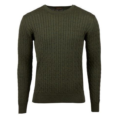 Green Merino Cable Crew Neck